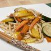 Spaghetti Udon con Verdure, Vitello e Pollo